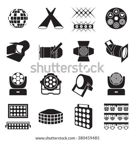 Stage lighting icons. Scene lighting equipment icons. Vector illustration Foto stock ©