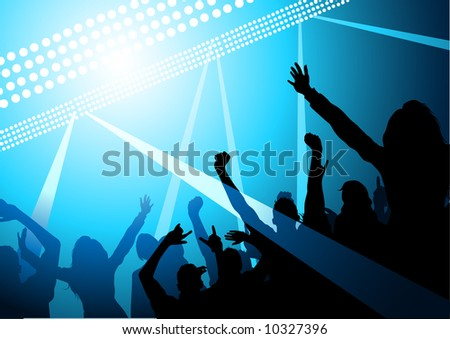 Stage lights and a crowd of fans - stock vector