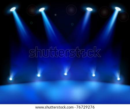 Stage lights. Vector illustration.