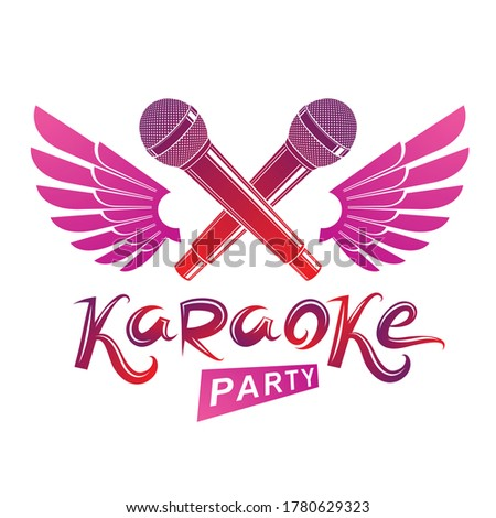 Stage microphone audio equipment created using bird wings, live music concert vector invitation emblem. Music and art makes you free, karaoke party lettering. Stock photo ©