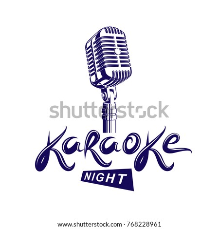 Stage microphone vector illustration, stereo and audio professional equipment. Vector emblem for use in karaoke night advertising flyer design.