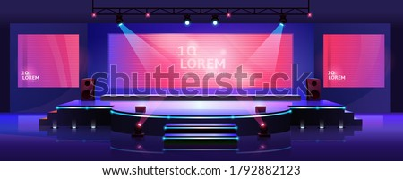 Stage of conference hall, presentation and concert scene, vector empty background template. Modern event stage with speaker podium, chair seats, spotlights and projector display monitors on screen