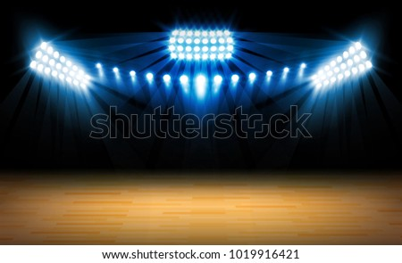 Stage on wood background and spotlight. Vector illumination