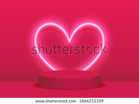 Stage podium decorated with heart shape lighting. Pedestal scene with for product platform, advertising, show, award, winner on pink background. Valentine's day background.Minimal.Vector illustration.