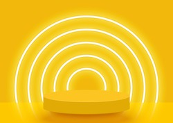 Stage podium decorated with lighting. Pedestal scene with for product, advertising, show, award ceremony, on yellow background. Summer background. Minimal style. Vector illustration.