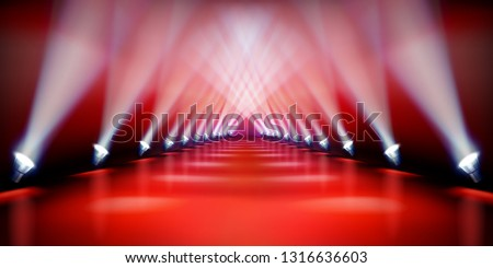 Stage podium during the show. Red carpet. Fashion runway. Vector illustration.
