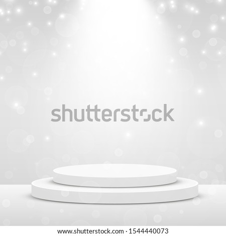 Stage Podium Scene for Award Ceremony illuminated with spotlight. Award ceremony concept. Stage backdrop. Vector illustration