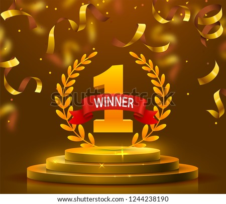 Stage podium with lighting and confetti, Stage Podium Scene with for Award Ceremony on yellow Background. Vector illustration