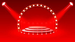 Stage podium with lighting, Stage Podium for Award Ceremony with red Background, Vector illustration, Eps 10.