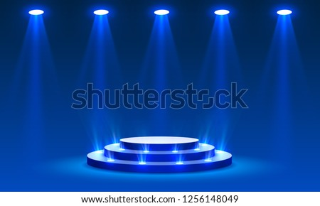Stage podium with lighting, Stage Podium Scene with for Award Ceremony on blue Background, Vector illustration