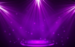 Stage podium with lighting, Stage Podium Scene with for Award Ceremony on purple Background, Vector illustration.
