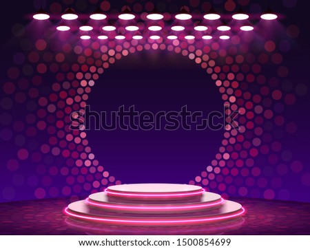 Stage podium with lighting, Stage Podium Scene with for Award Ceremony on purple Background, Vector illustration Foto stock ©