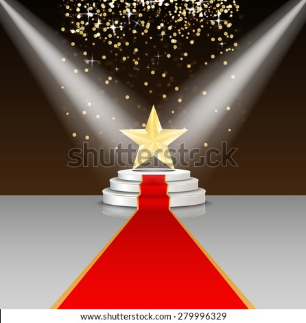 stock-vector-stage-podium-with-red-carpet-and-star-on-brown-background-illustration-vector