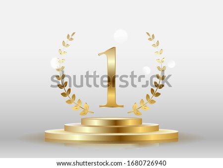 Stage podium with the number one gold on a white background. Vector. Photo stock ©
