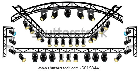 Stage spotlight on suspended metal construction
