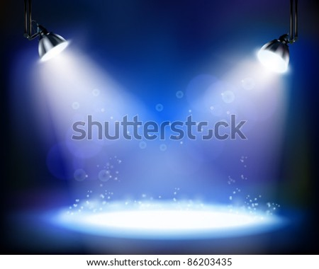 Stage spotlights. Vector illustration.