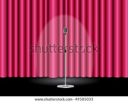 Stage with a closed pink theater curtain and a microphone ready for show