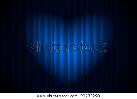 Stage with blue curtain and spotlight great, heart-shaped. Illustration of the designer - stock vector
