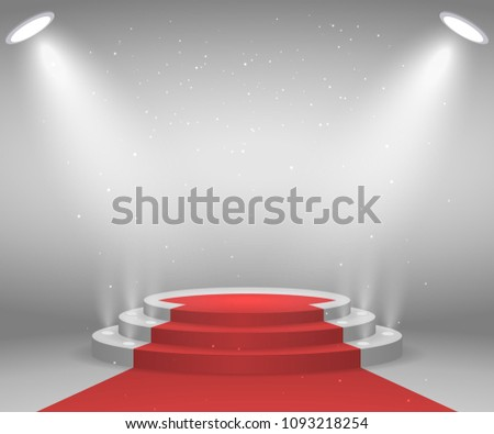 podium with lights and shining stars download free vector art
