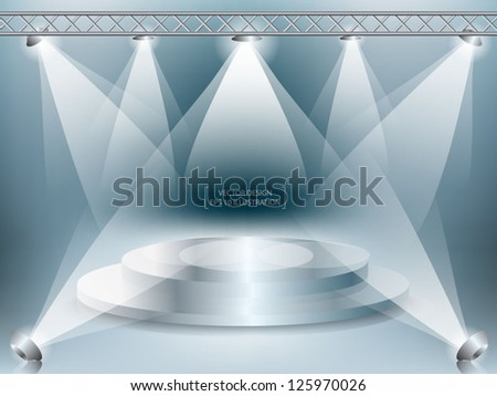 stage with lights. Vector illustration.