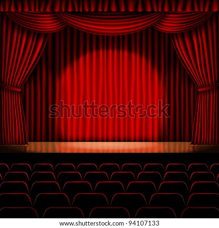 stage with red curtain vector for background