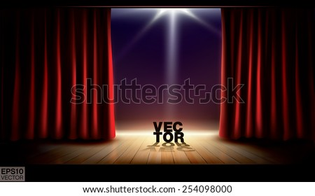 Stage with red curtains and spotlight. Vector background