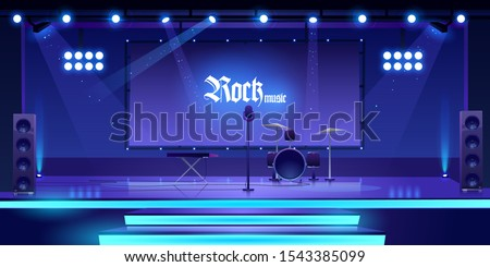Stage with rock music instruments, equipment and illumination, empty scene interior with drums, synthesizer, microphone, dynamics searchlights and screen for presentation. Cartoon vector illustration