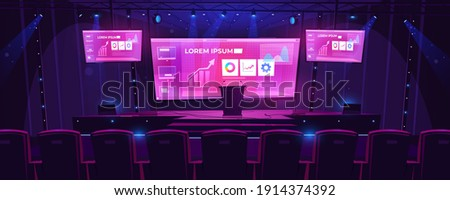 Stage with tribune, screens on background and spotlights. Vector cartoon illustration of empty scene for presentation, conference and public event with pulpit and seats for audience Stock photo ©