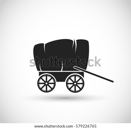 Stagecoach/ Wagon form Wild West icon vector