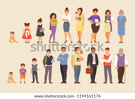 Stages of aging men and women. People of different ages. Big vector set