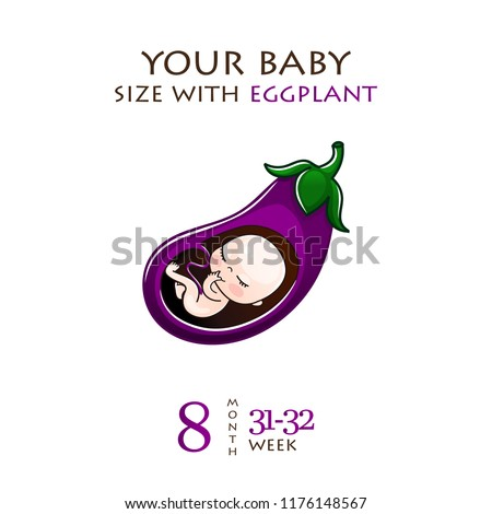 Stages of development of pregnancy, the size of the embryo for weeks. Human fetus inside the womb 1 to 9 months.Vector illustrations