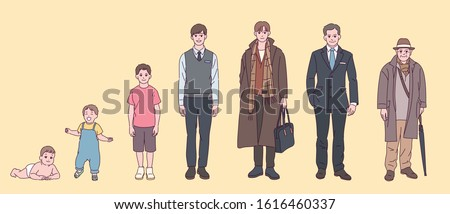 Stages of growth of men from infants to the elderly. hand drawn style vector design illustrations.