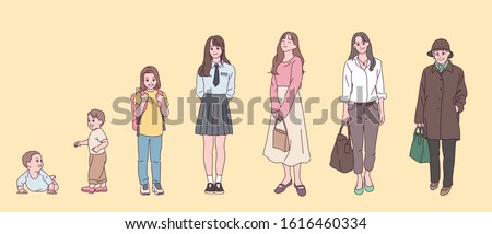 Stages of growth of women from infants to the elderly. hand drawn style vector design illustrations.
