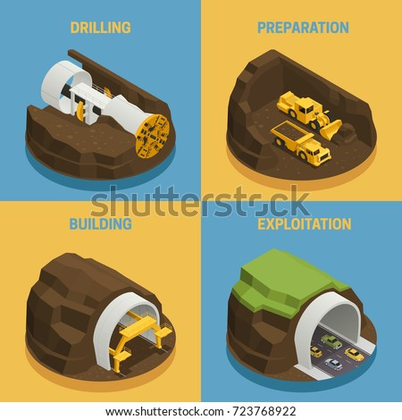 Stages of tunnel construction process isometric 2x2 icons set isolated on colorful backgrounds 3d vector illustration stock photo