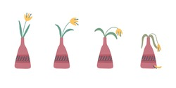 Stages of withering, a wilted flower in a vase, abandoned plant without watering and care. Cut flower dying. Vector illustration, handdrawn organic flat style