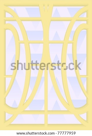 Stained glass for windows, doors, walls, yellow frame, blue background.