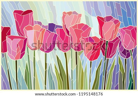 stained glass painting pink
