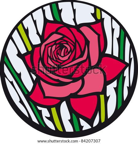 Stained-glass rose. Red rose looks like a stained-glass window.