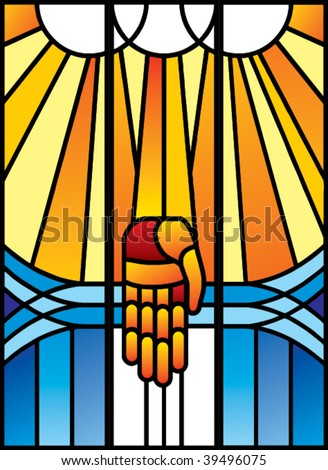 Stained-glass with palm in vector format