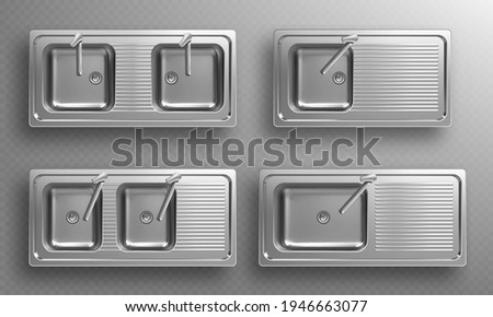 Stainless kitchen sinks with faucets in top view. Vector realistic set of empty steel wash bowls with basin mixer, drain and utensil drainer. 3d double metal sinks isolated on transparent background Photo stock ©
