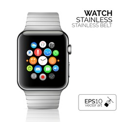 Stainless silver smart watch isolated on white. Vector detailed smart watch reflected on white surface. Watch icon on smart iwatch screen. Stainless smart watch face eps.