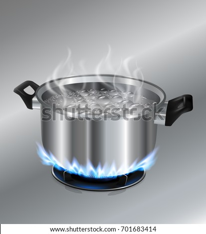 Stainless steel pot boiling water. On the gas stove. Vector realistic file.