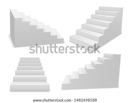 Stair 3d white isolated ladder, staircase vector architecture concept.