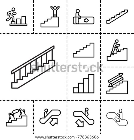 Stair icons. set of 13 editable outline stair icons such as escalator, escalator up, escalator down, stairs, stair, man climbing stairs, man going up