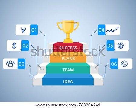 Stair step to Trophy and success infographics template with icons and elements. Staircase to success. Infographics Vector Illustration.