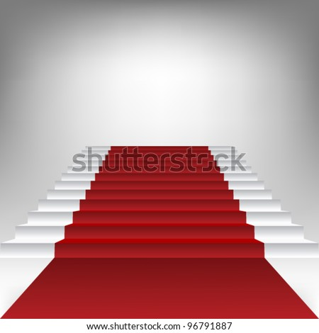 stair with red carpet