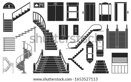 Staircase and lift vector black set icon.Vector illustration stair and escalator.Isolated black icon wooden of metal staircase on white background. Сток-фото ©