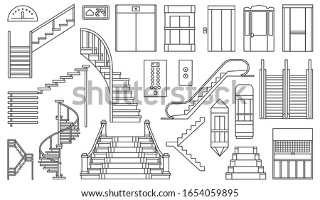 Staircase and lift vector outline set icon.Vector illustration stair and escalator.Isolated outline icon wooden of metal staircase on white background. stock photo