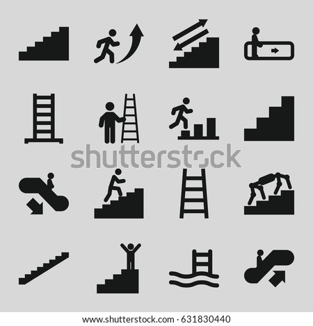 Staircase icons set. set of 16 staircase filled icons such as escalator, escalator up, escalator down, ladder, stairs, stair, man climbing stairs, man going up