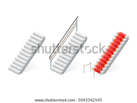 Staircase set isolated on white background. Stairway for exterior or interior. Vector illustration.